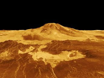 Suche nach Spuren von Vulkanismus in der Venusatmosphäre (Credit: NASA/JPL)