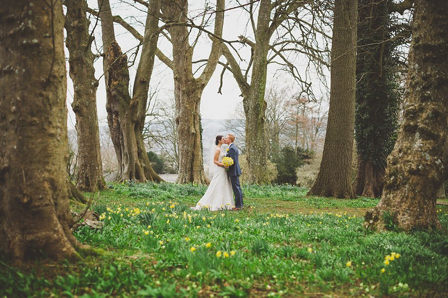 bride and groom spring portrait