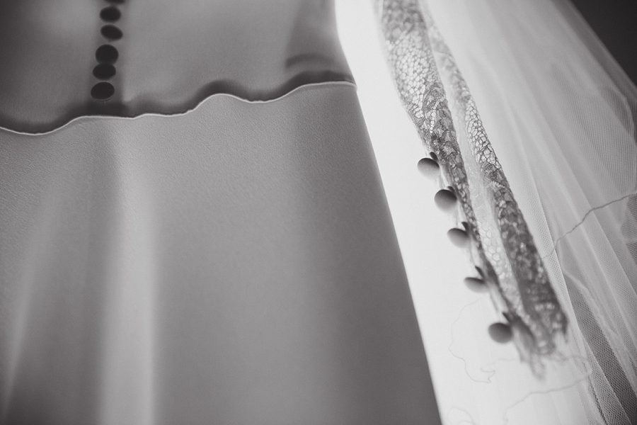 black and white wedding dress detail