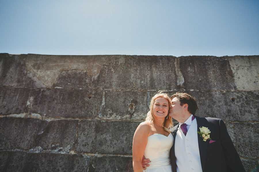 bride and groom portrait at priston mill watermill