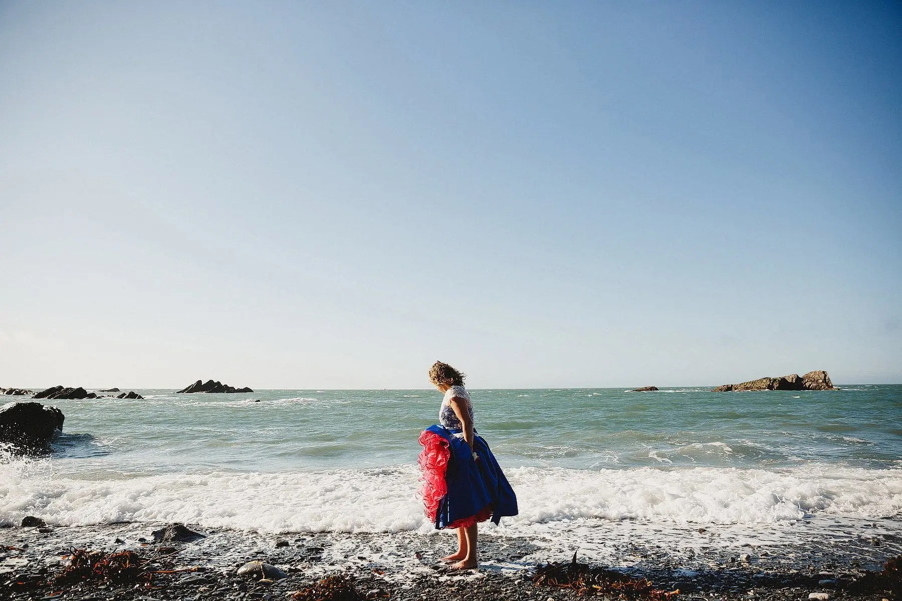 bride at tunnels beaches wedding
