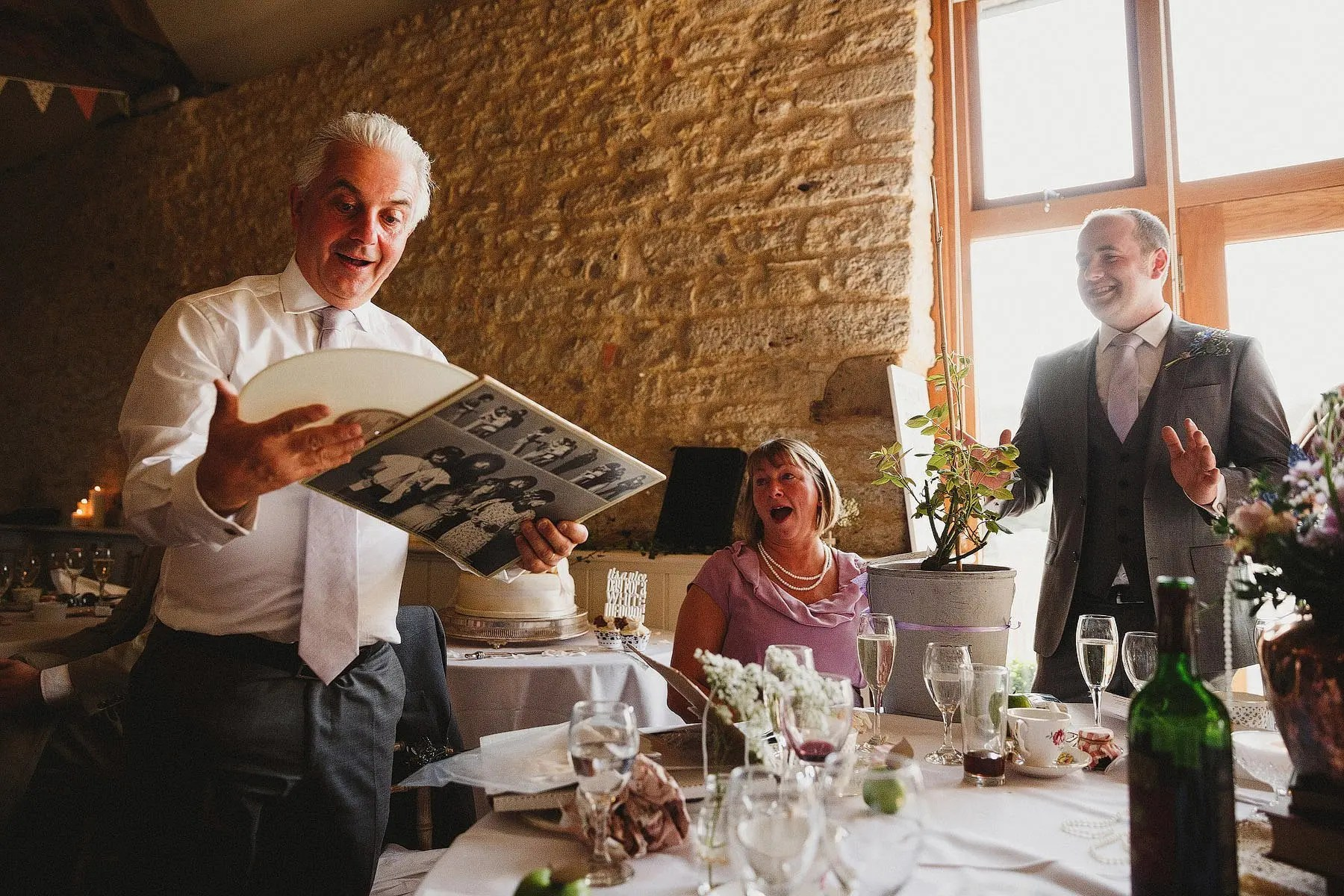 presents during speeches at a wedding at wick farm