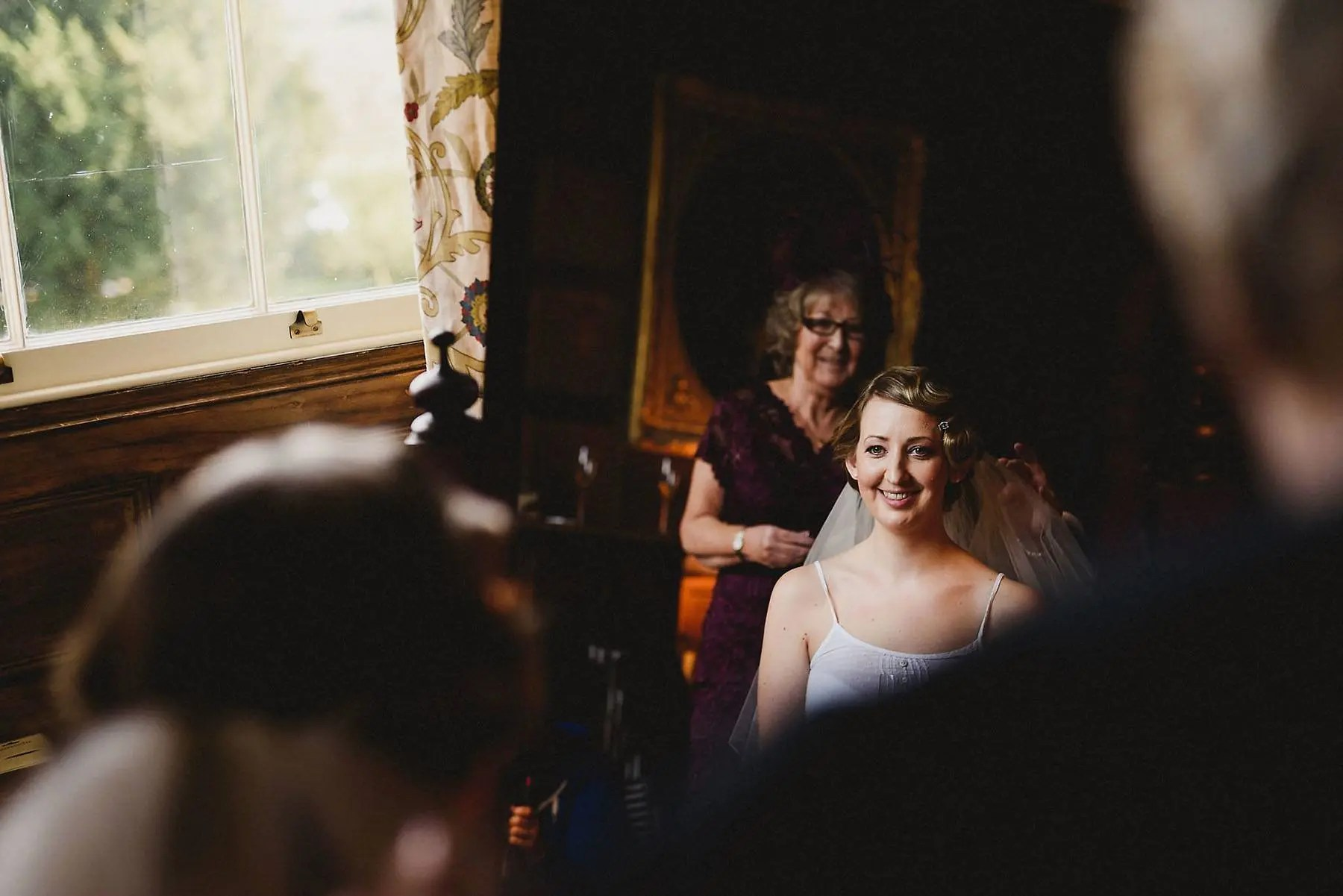 Bride getting ready at Elmore Court Wedding