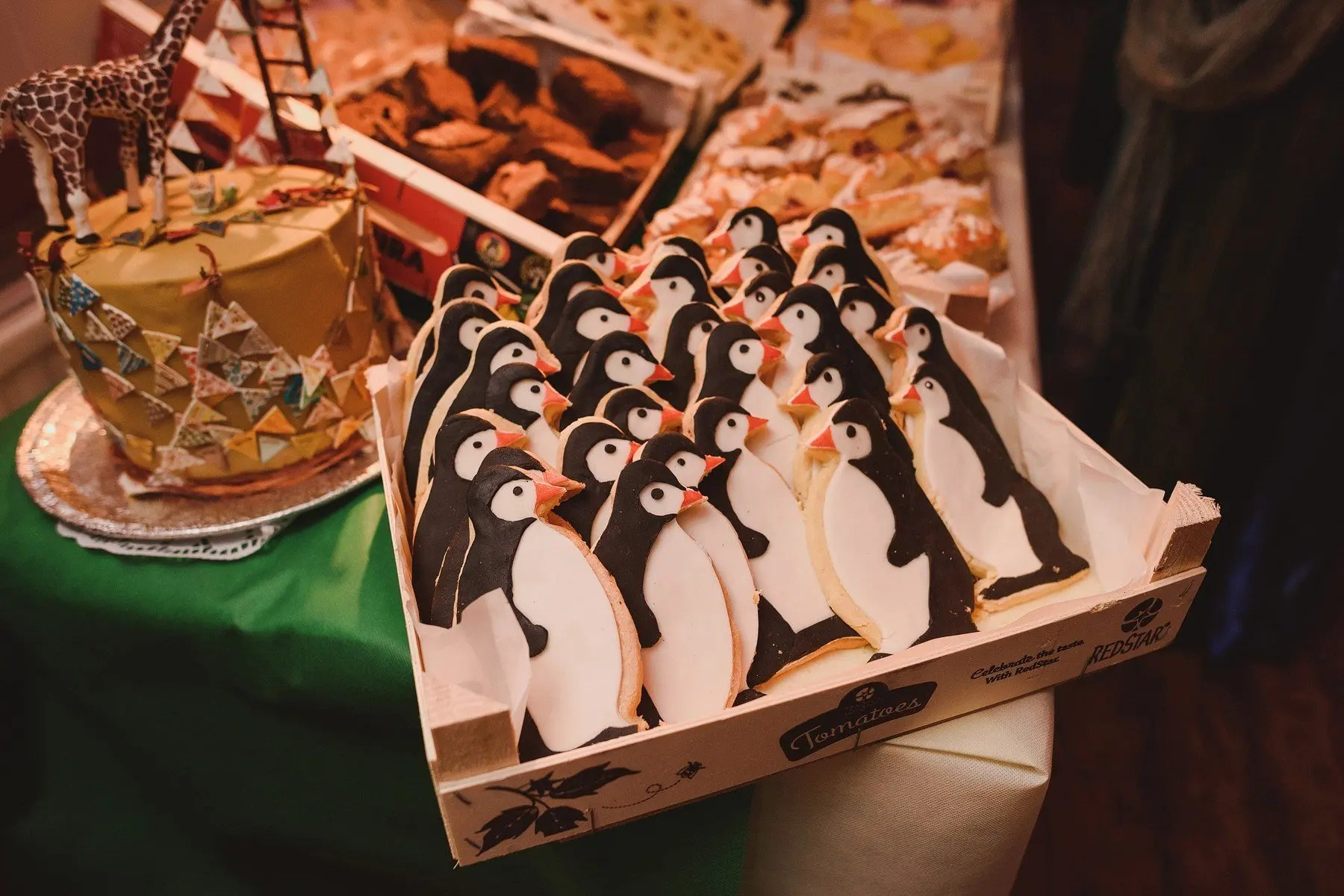 penguin biscuits at a wedding