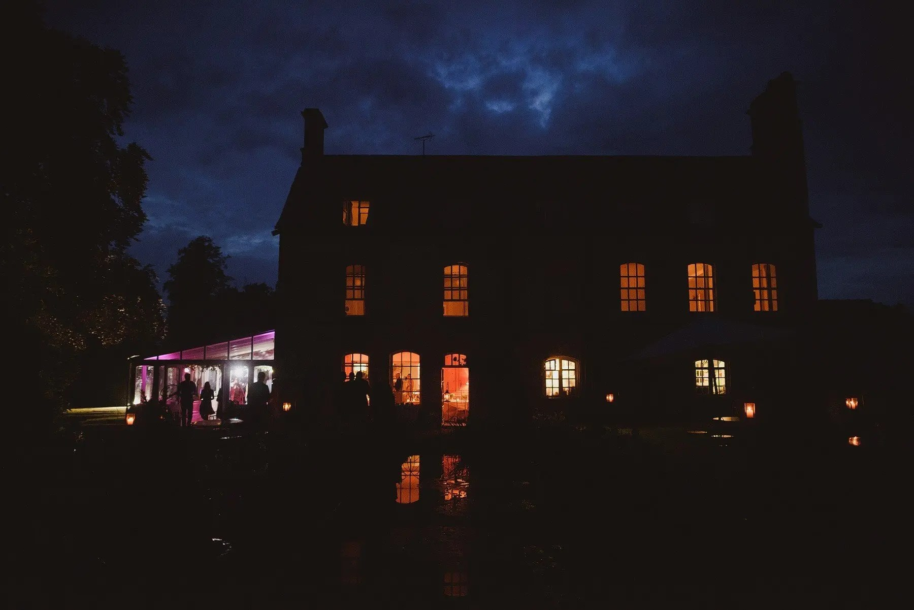 the rectory wedding venue at night