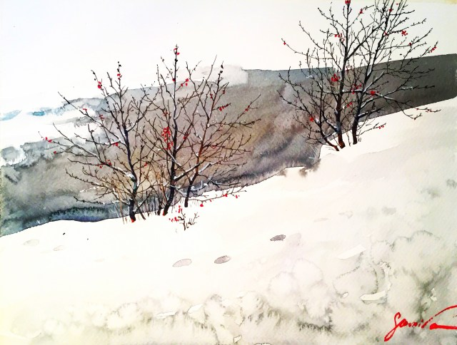 watercolor winter. Samira Yanushkova 2018