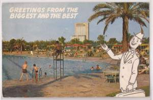 Giant. The Shamrock HIlton's largest swimming pool in the world