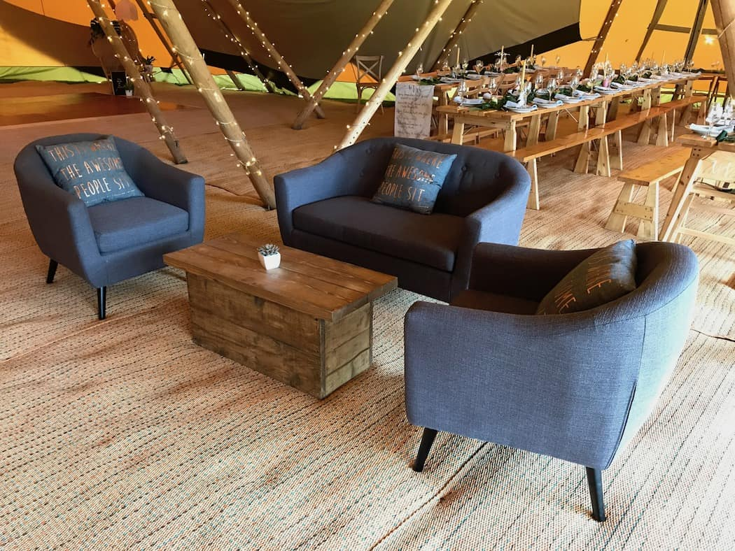 Grey settee and chair set special touches from Sami Tipi