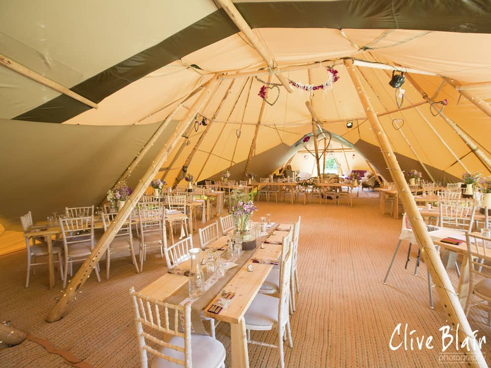 Two giant hat tipis and Chill-Out Tipi Internal - Sami Tipi Wedding captured by Clive Blair