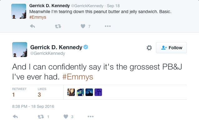 gerrick kennedy criticism tweet for stranger things cast serves peanut butter and jelly at emmy