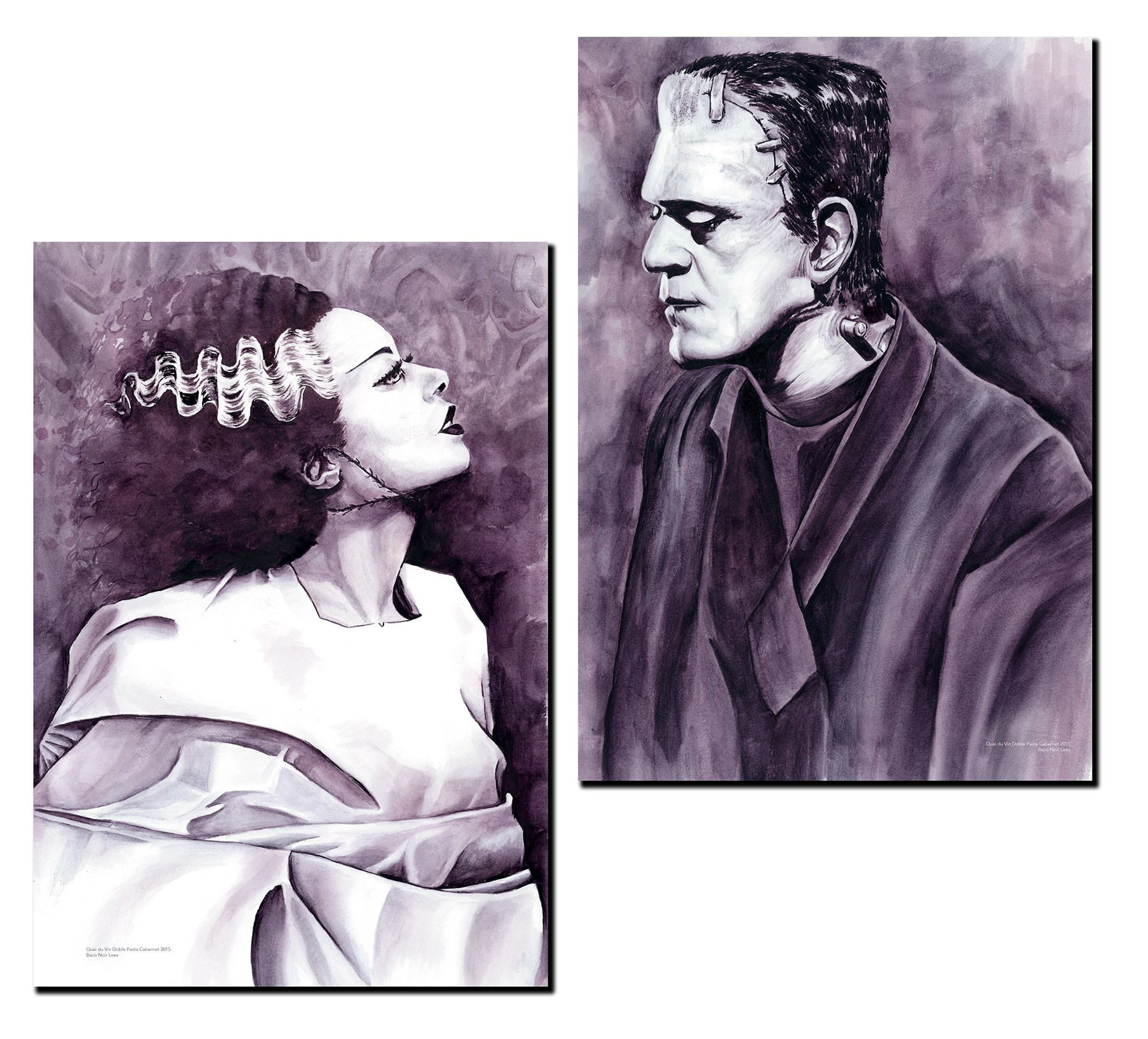 Bride of Frankenstein by Melissa Proudlock Painted with Wine wine painting.jpg
