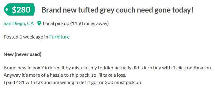 Listing for $400 couch bought by toddler
