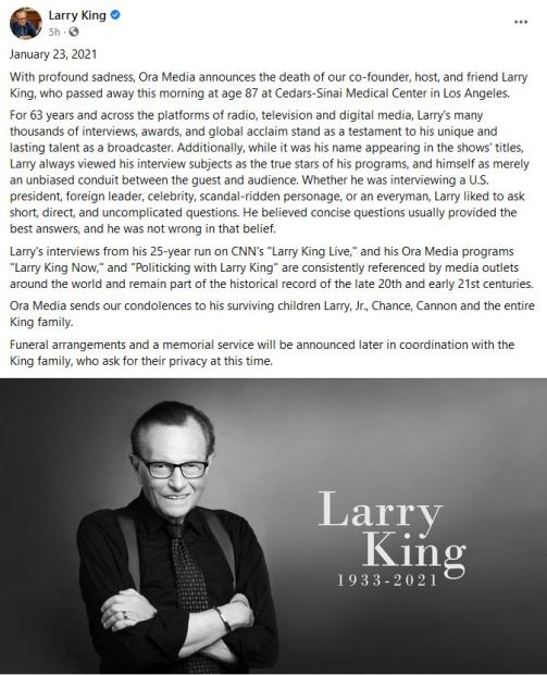 Larry King dies by Sammiches and Psych Meds news entertainment and trending