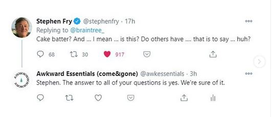 stephen fry english actor responds to cake batter comment for dripstick awkward essentials come and gone