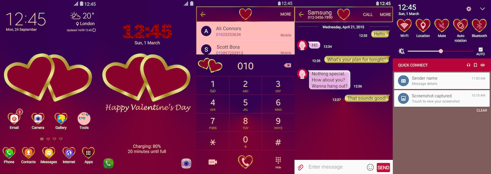 Samsung Galaxy Theme - Golden Hearts