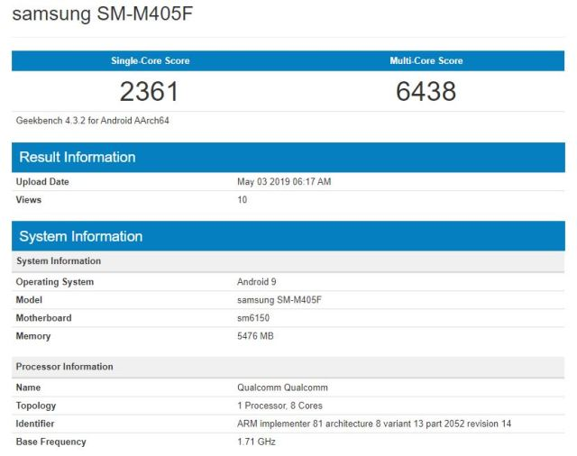 galaxy m40 specs geekbench