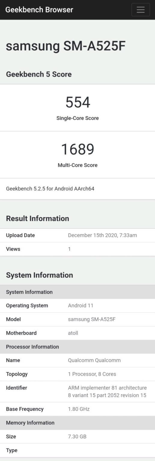 Samsung Galaxy A52 4G Geekbench Processor