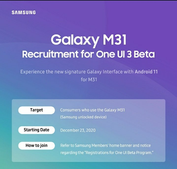 Galaxy M31 becomes Samsung's first mid-range phone to get One UI 3.0 beta