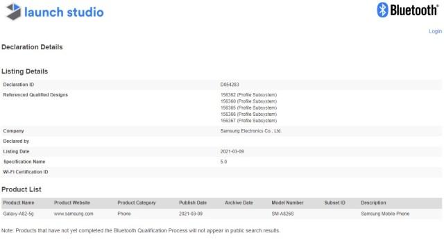 Samsung Galaxy A82 5G Bluetooth SIG Certification
