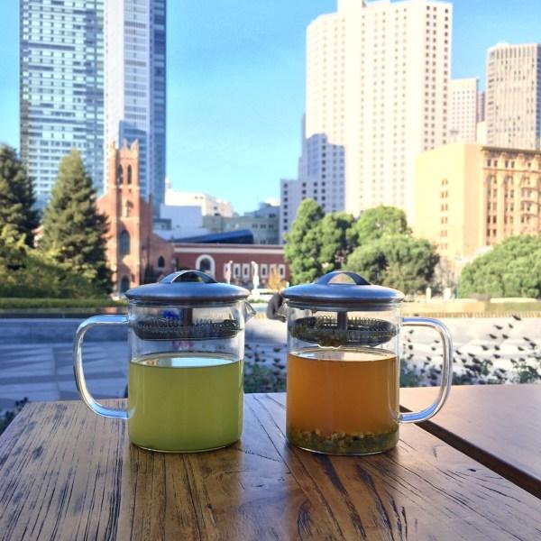 San Francisco's skyline over Samovar Teahouse in Yerba Buena