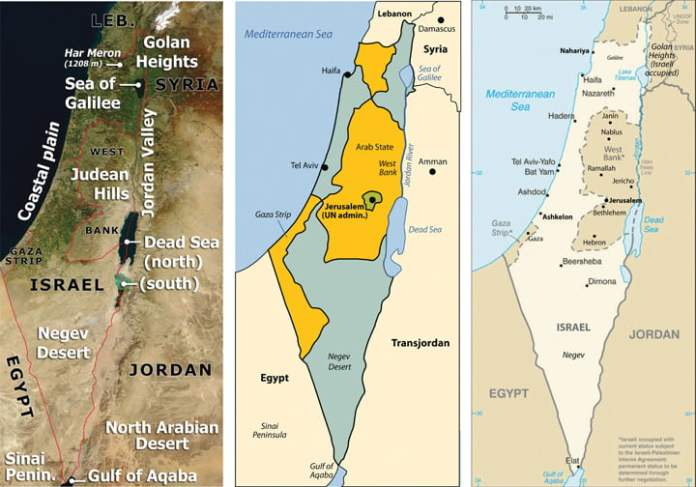 Israel Palestine map Univ Minnesota ইজরায়েল-ফিলিস্তিন সংকট সমাধান সম্ভব কি!
