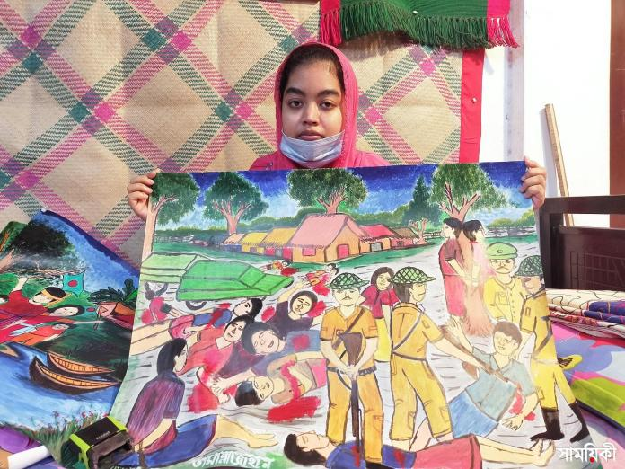 Barishal Photo Paintings drawn by deafdumb and autistic youth Tamanna Zahan 4 বাক্ ও শ্রবণপ্রতিবন্ধী এক অটিষ্টিক চিত্রকর তামান্না জাহান