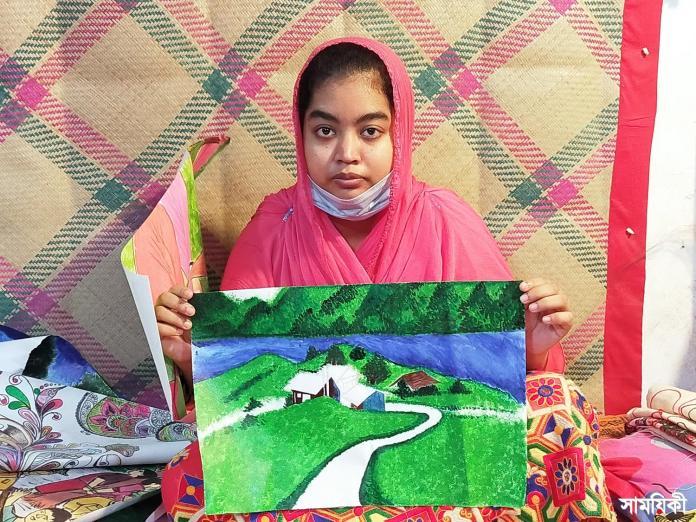 Barishal Photo Paintings drawn by deafdumb and autistic youth Tamanna Zahan 6 বাক্ ও শ্রবণপ্রতিবন্ধী এক অটিষ্টিক চিত্রকর তামান্না জাহান