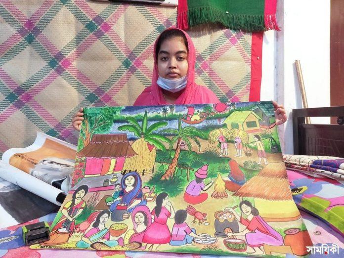 Barishal Photo Paintings drawn by deafdumb and autistic youth Tamanna Zahan 7 বাক্ ও শ্রবণপ্রতিবন্ধী এক অটিষ্টিক চিত্রকর তামান্না জাহান