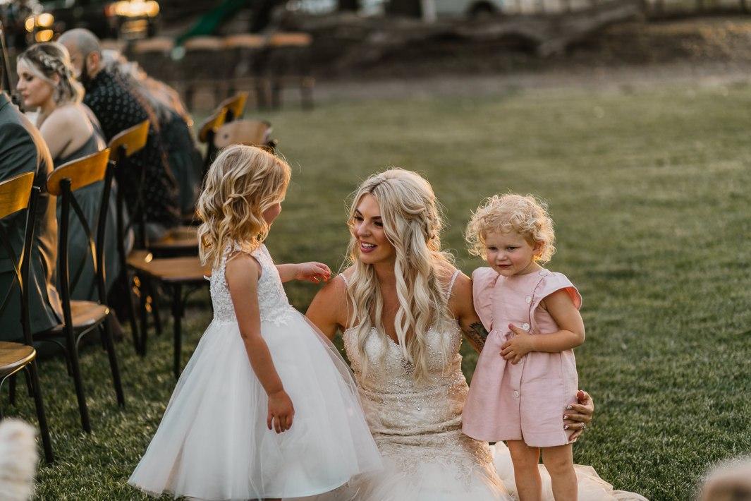 Bride with flower girls.