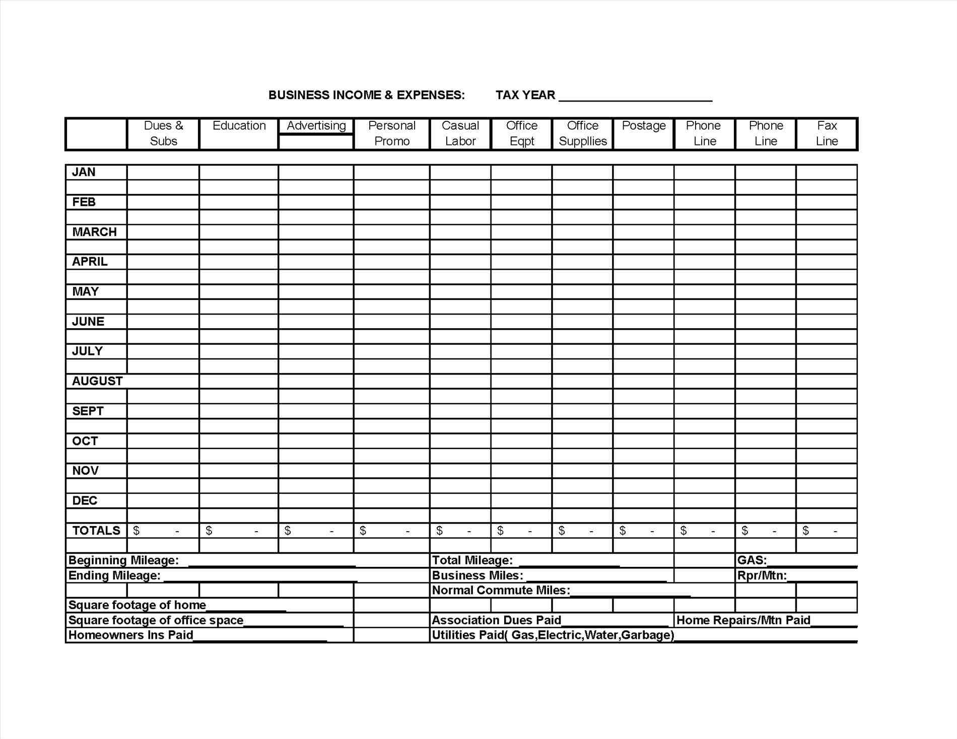 Monthly Business Expense Calculator Worksheet