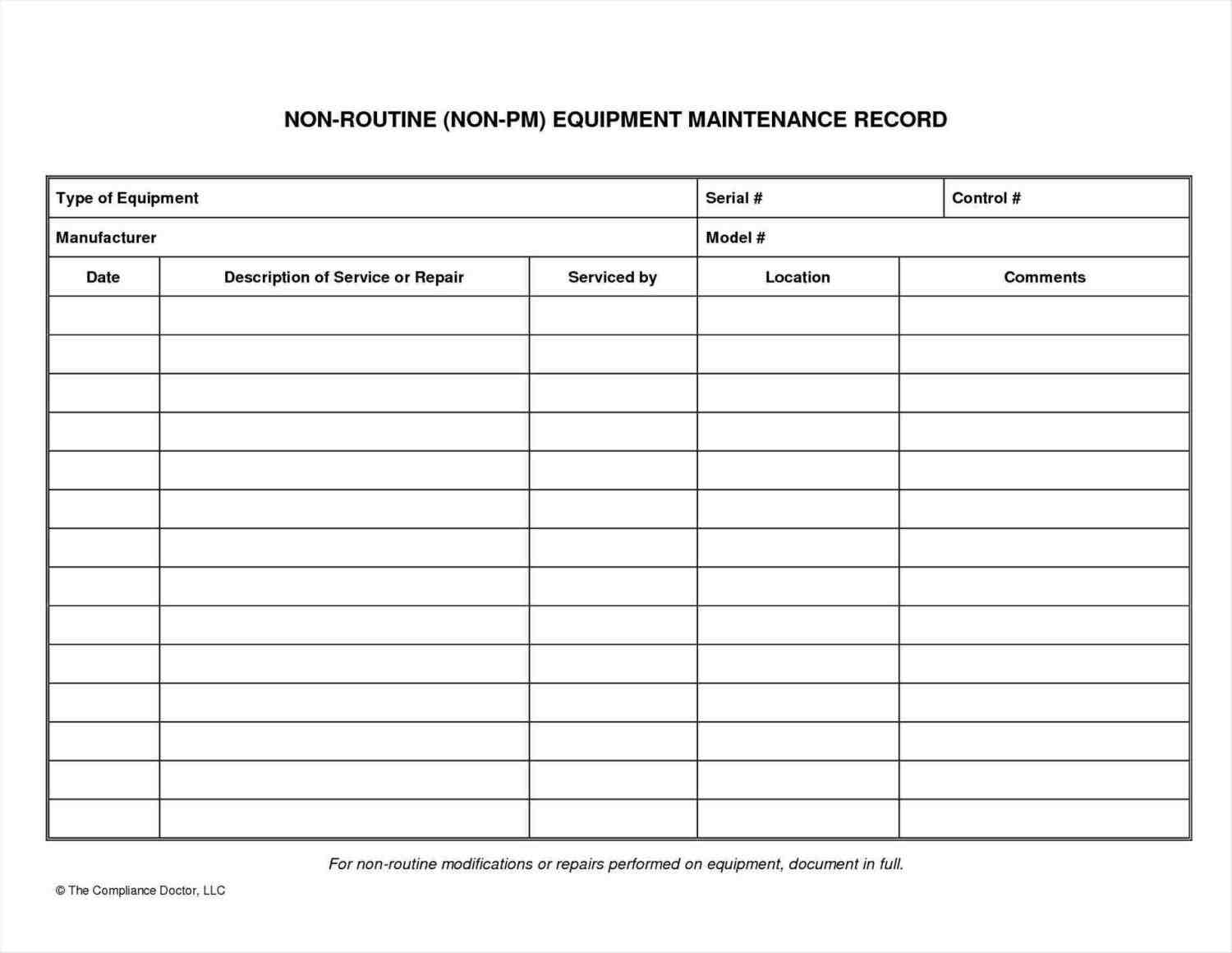 Department Maintenance Worksheet Template