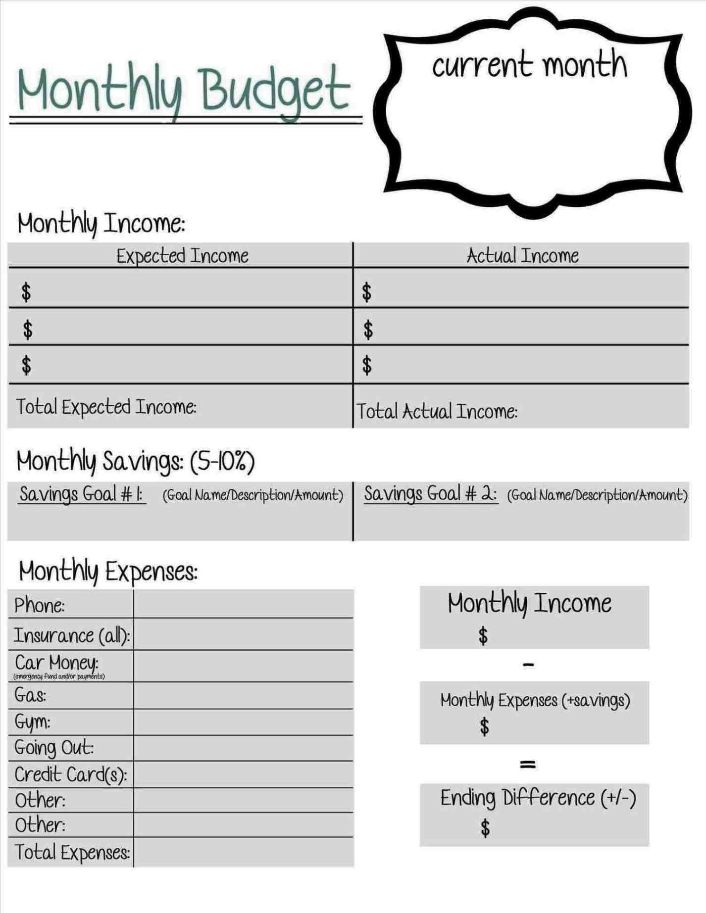 Monthly College Expense Calculator Worksheet