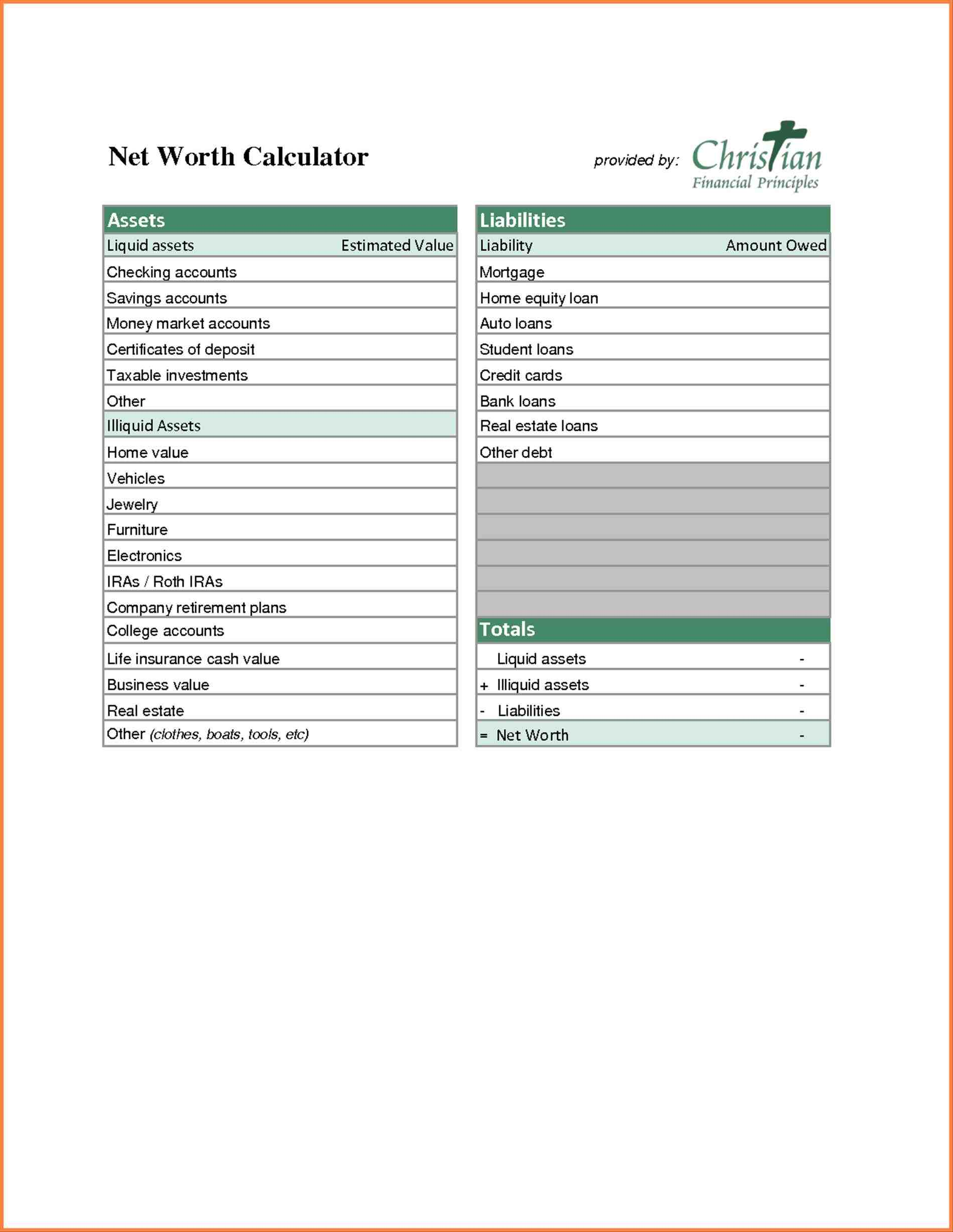 Net Worth Excel Template