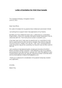 Letter Of Invitation For Visitor Visa To Canada