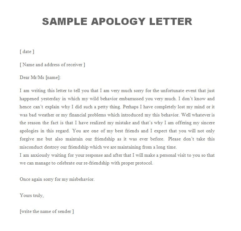 Sample Apology Letter To Boss. Professional Apology Letter To Boss