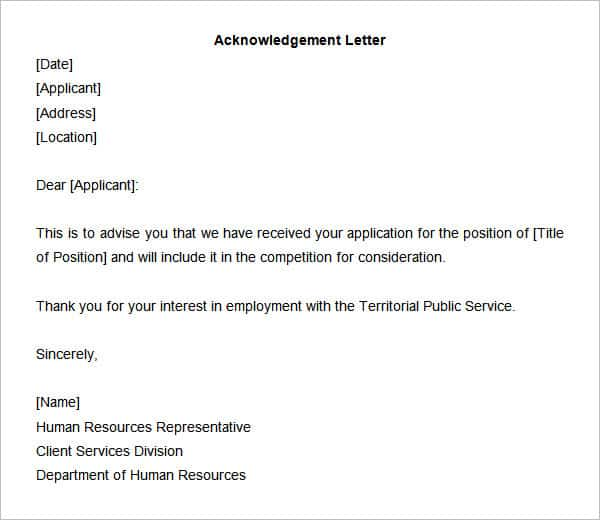 acknowledgement letter 20 download now