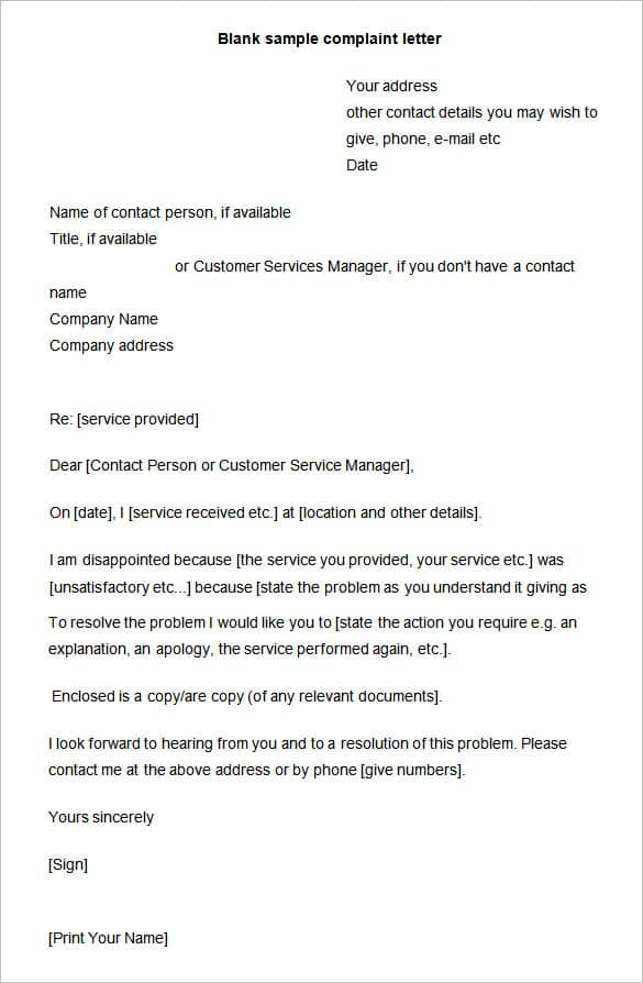 16 sample complaint letters sample letters word complaint letter 101 spiritdancerdesigns Gallery