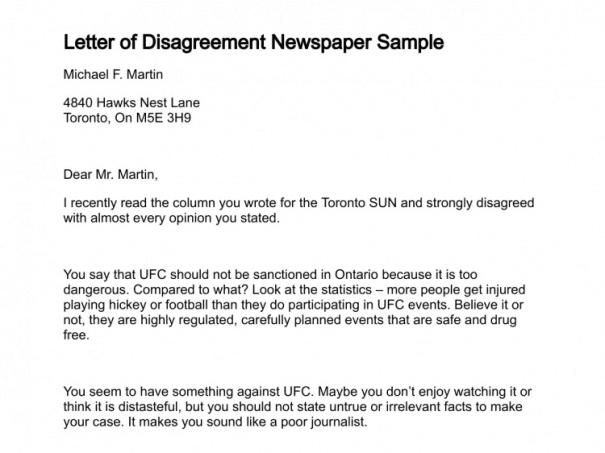 7 sample disagreement letters sample letters word disagreement letter to newspaper editor disagreement letter 10 spiritdancerdesigns Gallery