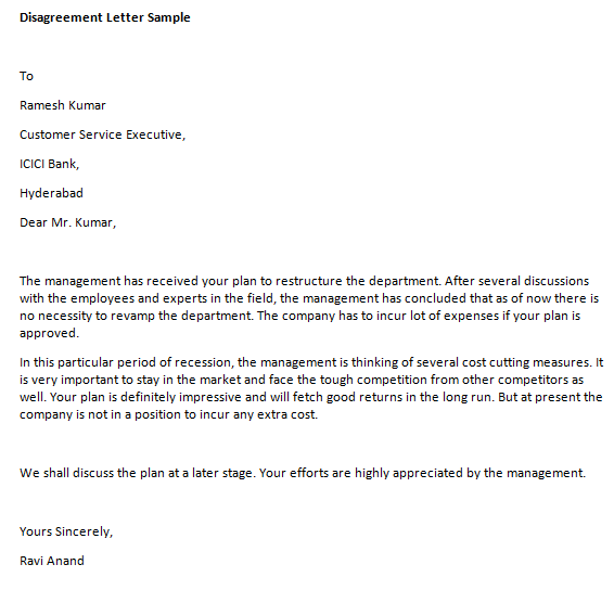 Sample Letter Of Disagreement Template