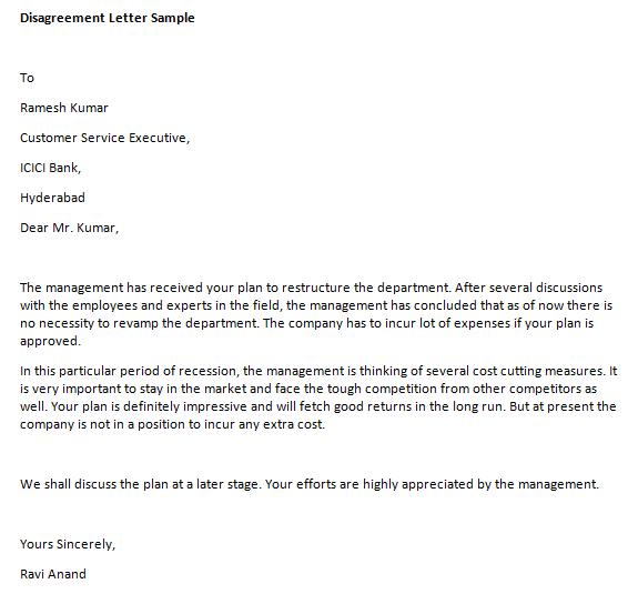 Disagreement letter resume template ideas disagreement letter spiritdancerdesigns Images