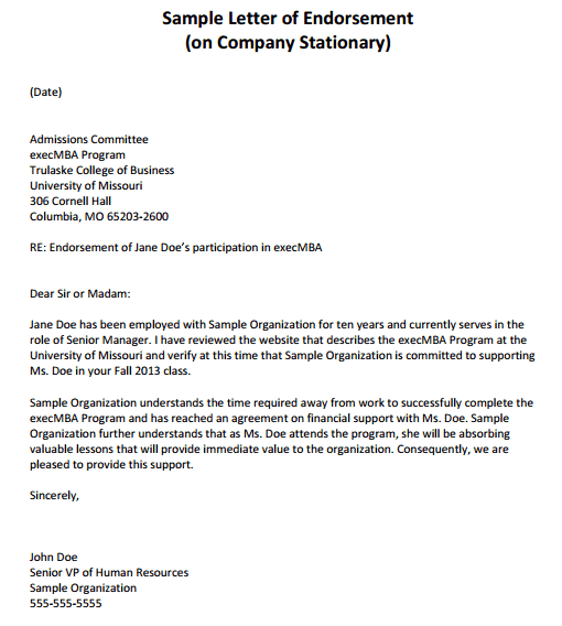 Sample Recommendation Letter For A Student Internship