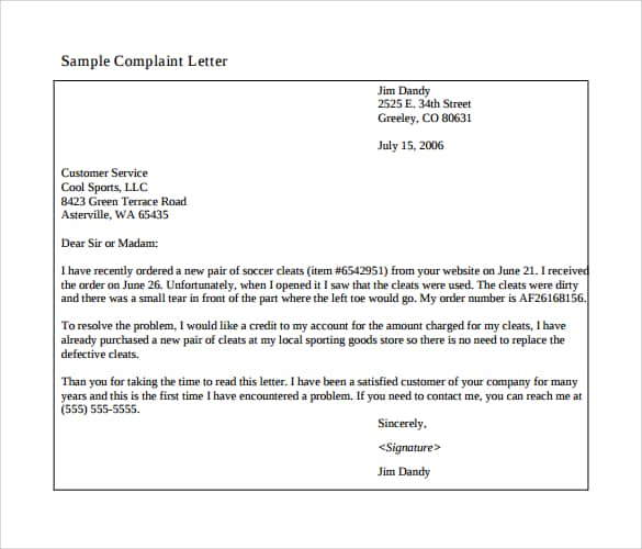 Complaint Letter Sample. Letter Of Disappointment 20  Product Complaint Letter Sample