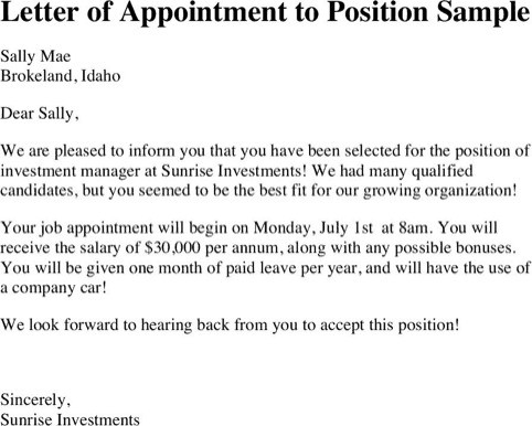Appointment Letter 101