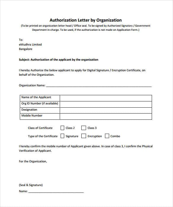 Sample Authorization Letters  Sample Letters Word