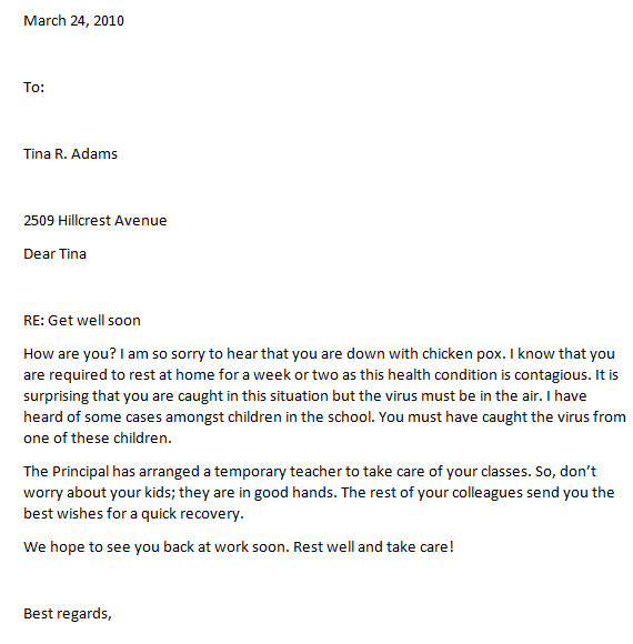 how to write a professional get well letter