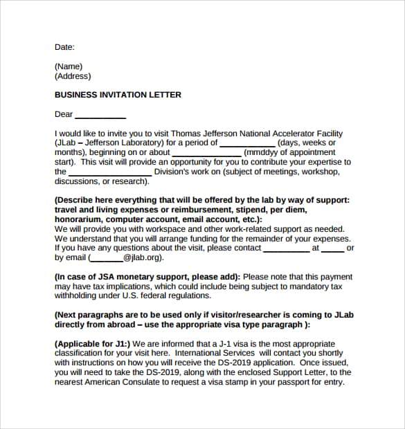 13 sample invitation letters writing