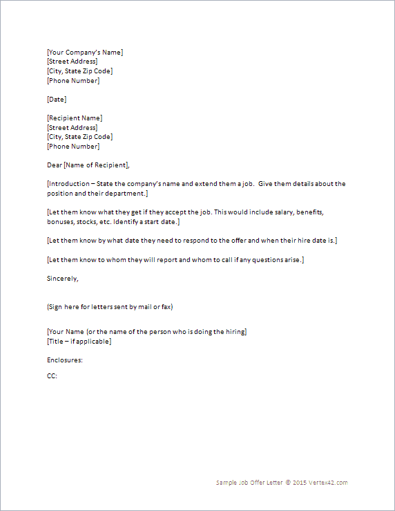 13+ Sample Job Offer Letters - Sample Letters Word