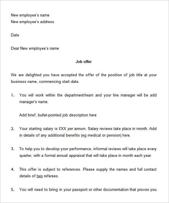 13 Sample Job Offer Letters
