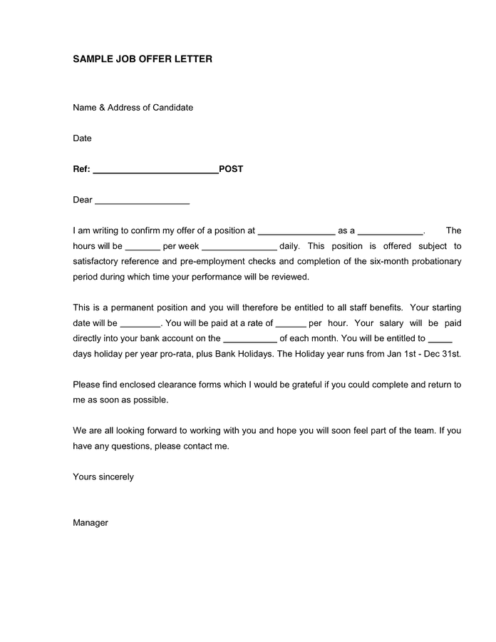 13 Sample Job Offer Letters Sample Letters Word – Job Offer Letters