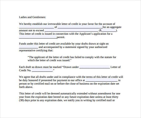 Credit Terms Letter Sample Letter Of Credit Terms Credit Terms